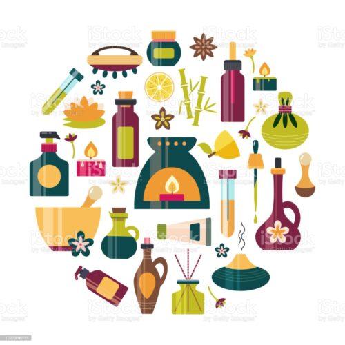 Produits d'aromathérapie et autre (baumes, huiles essentielles, alcoolatures, macérats ...)